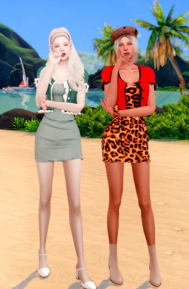 Sims 4 Frill Cardiagan & Sleeveless Dress & Hair Scruncy at RIMINGs