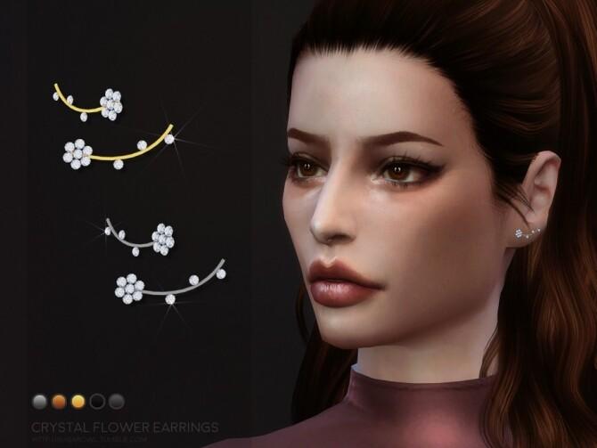 Sims 4 Crystal Flower earrings by sugar owl at TSR