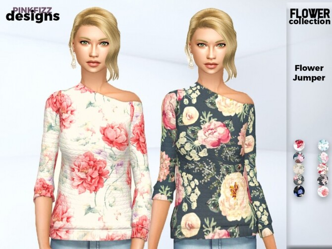 Sims 4 Flower Jumper by Pinkfizzzzz at TSR