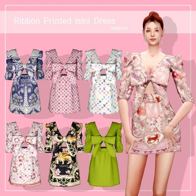 Ribbon Printed mini Dress at RIMINGs image 2332 670x670 Sims 4 Updates