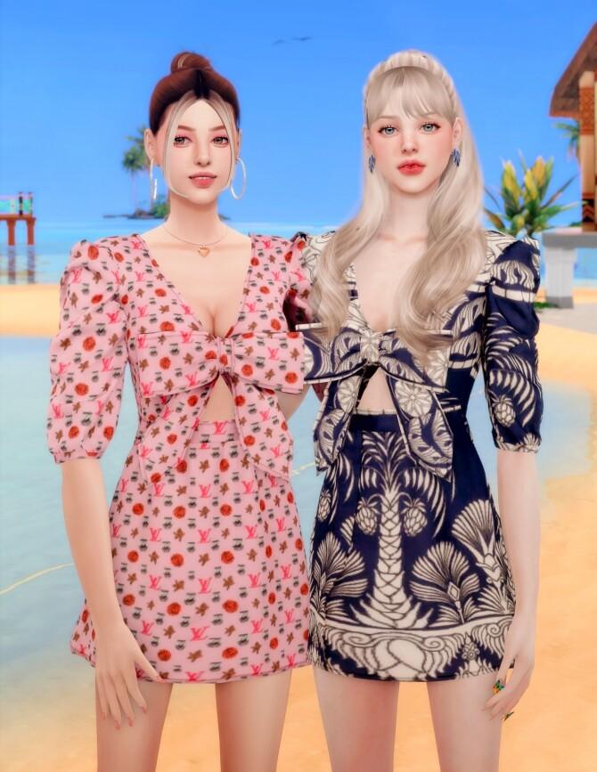 Ribbon Printed mini Dress at RIMINGs image 2342 670x867 Sims 4 Updates