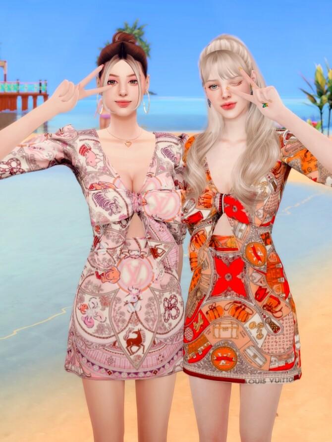 Ribbon Printed mini Dress at RIMINGs image 2352 670x892 Sims 4 Updates