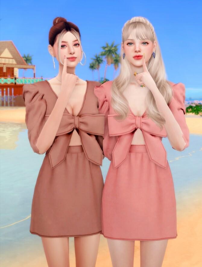 Ribbon Printed mini Dress at RIMINGs image 2362 670x885 Sims 4 Updates