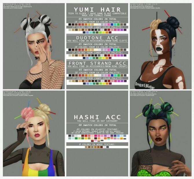 Sims 4 YUMI HAIR + 3 ACCS at Candy Sims 4