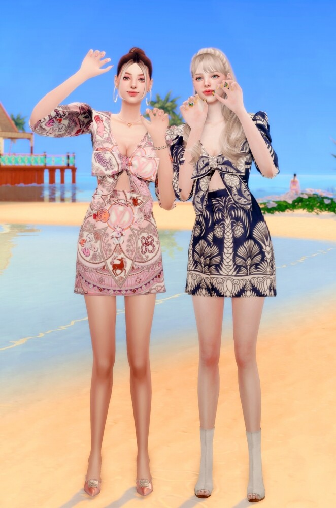 Ribbon Printed mini Dress at RIMINGs image 2372 662x1000 Sims 4 Updates