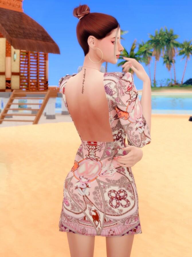 Sims 4 Ribbon Printed mini Dress at RIMINGs