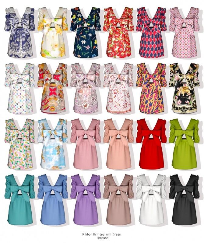 Ribbon Printed mini Dress at RIMINGs image 2392 670x799 Sims 4 Updates