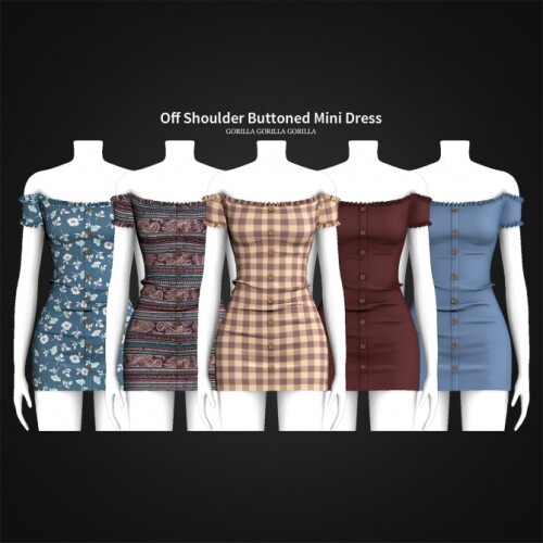 Off Shoulder Buttoned Mini Dress
