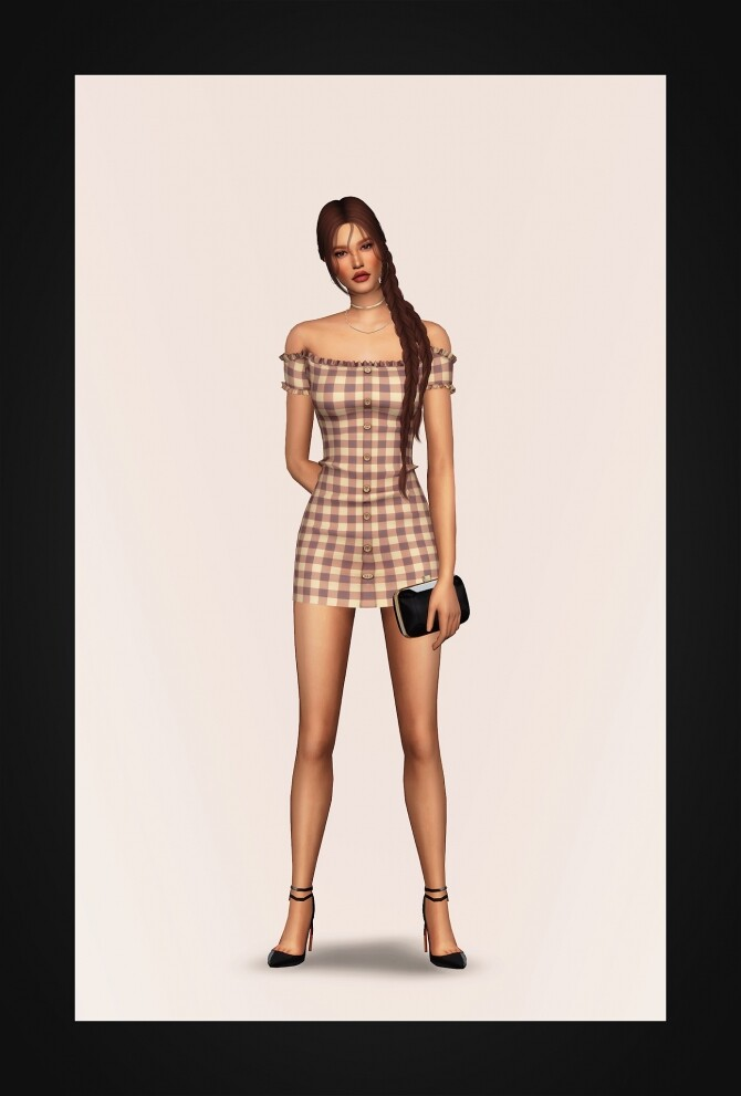 Off Shoulder Buttoned Mini Dress at Gorilla image 2471 670x991 Sims 4 Updates