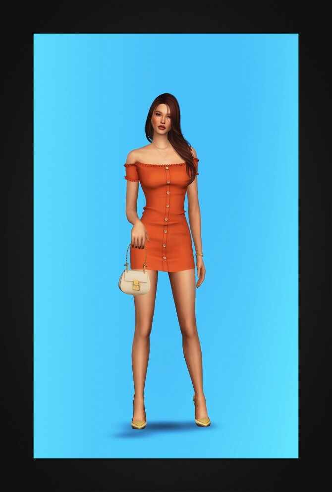 Off Shoulder Buttoned Mini Dress at Gorilla image 2481 670x991 Sims 4 Updates