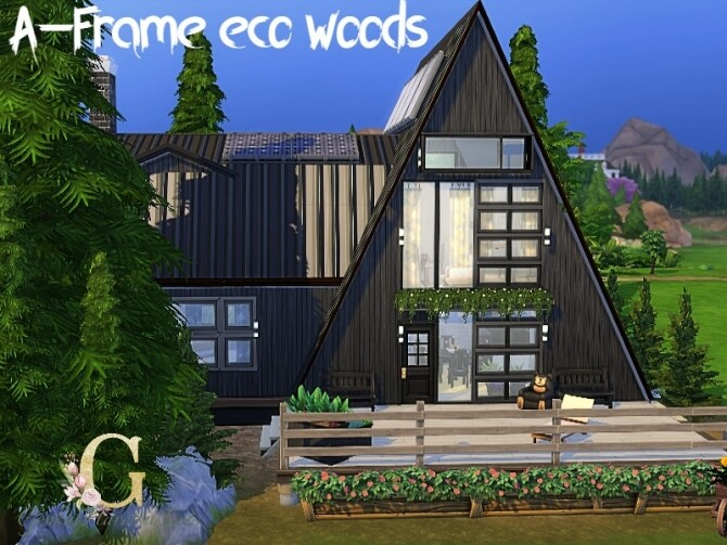 Sims 4 A frame eco woods home by GenkaiHaretsu at TSR