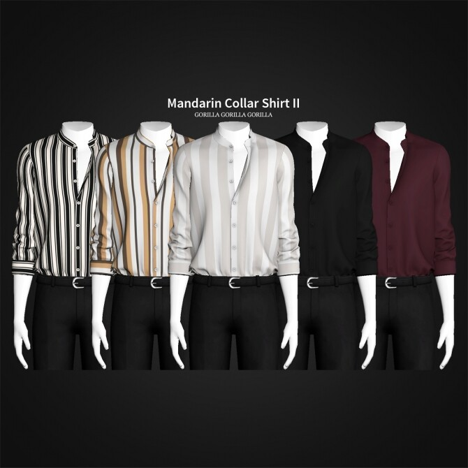 Sims 4 Mandarin Collar Shirt II at Gorilla