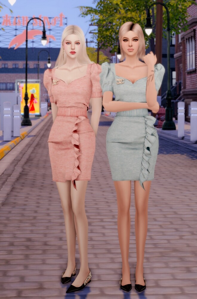 Sims 4 Brooch & Puff Sleeve Twopiece Set at RIMINGs