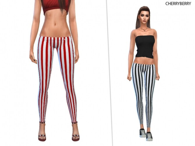 Sims 4 Striped Pants by CherryBerrySim at TSR