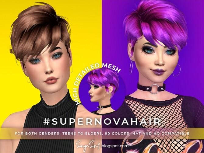 Sims 4 Supernova, Amanda & Sonia Hairs at Sonya Sims