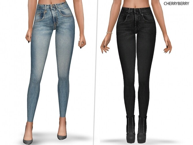 Sims 4 Fall Skinny Jeans by CherryBerrySim at TSR