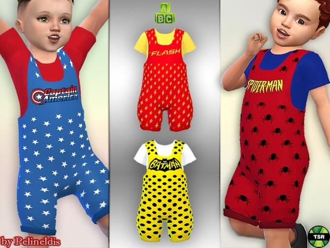 Toddler Superhero Dungaree by Pelineldis at TSR image 2716 670x503 Sims 4 Updates