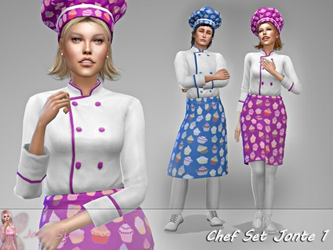 Apron and chef hat Jonte 1 by Jaru Sims at TSR image 273 670x503 Sims 4 Updates