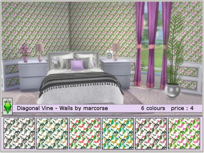 Sims 4 Diagonal Vine Walls by marcorse at TSR