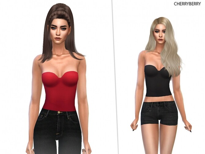 Sims 4 Bustier Top by CherryBerrySim at TSR