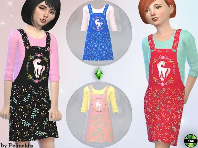 Sims 4 Girls Unicorn Dungaree Dress by Pelineldis at TSR
