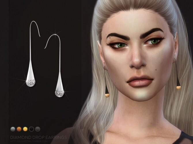 Sims 4 Diamond Drop earrings by sugar owl at TSR