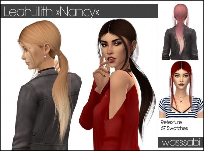 Sims 4 LeahLillith Nancy hair retextured at Wasssabi Sims