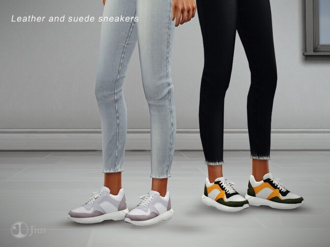 Leather and suede sneakers by Jius at TSR image 296 670x503 Sims 4 Updates