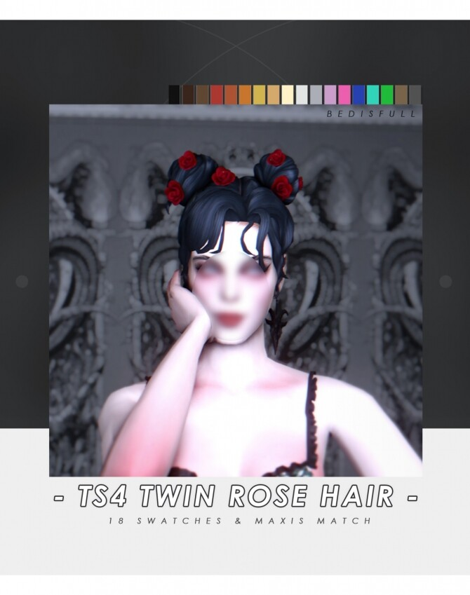 FM Twin rose hair & hairpin at Bedisfull – iridescent image 3041 670x849 Sims 4 Updates