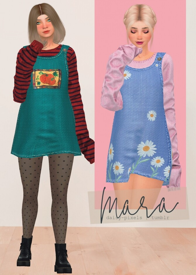 Sims 4 Mara Dress + Tights at Daisy Pixels