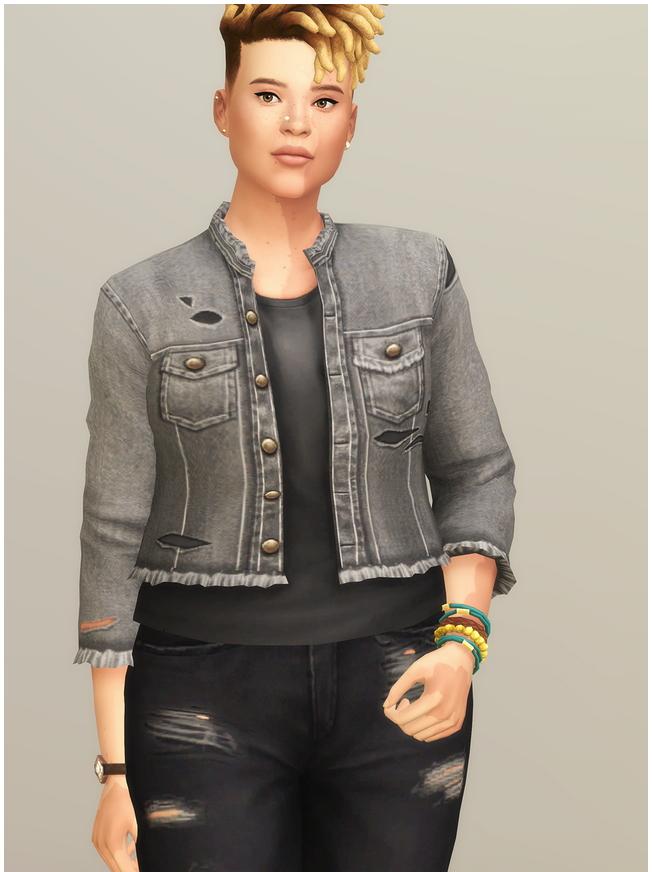 Sims 4 Denim Jacket 2020 F I at Rusty Nail