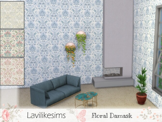 Sims 4 Floral Damask Wallpaper by lavilikesims at TSR