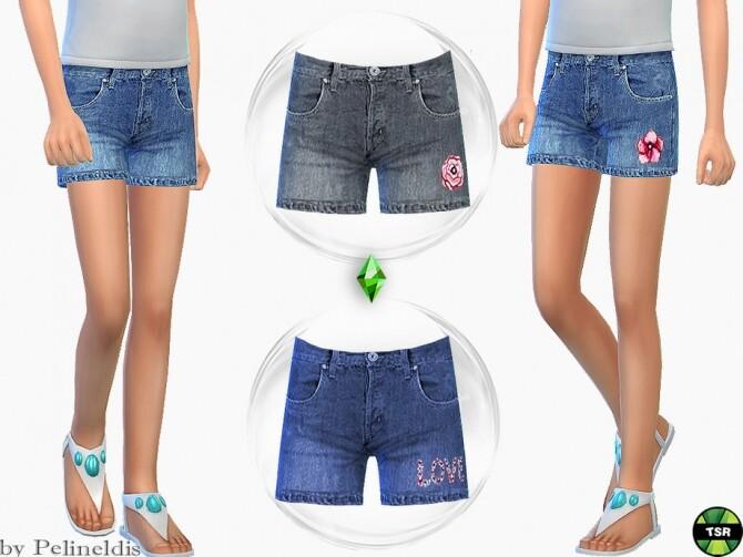 Sims 4 Girls Denim Flower Shorts by Pelineldis at TSR
