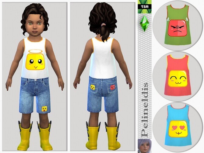 Sims 4 Toddler Emoticon Tank Top by Pelineldis at TSR