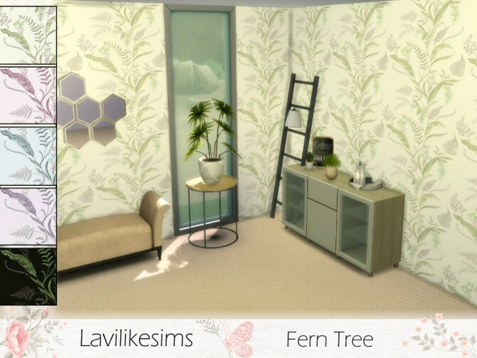 Fern Tree Wallpaper by lavilikesims at TSR image 350 670x503 Sims 4 Updates