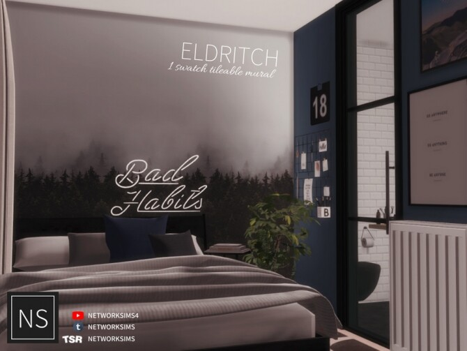 Sims 4 Eldritch Tileable Wall Mural by Networksims at TSR