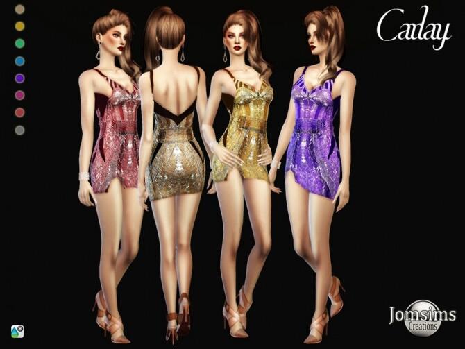 Sims 4 Carlay dress by  jomsims at TSR