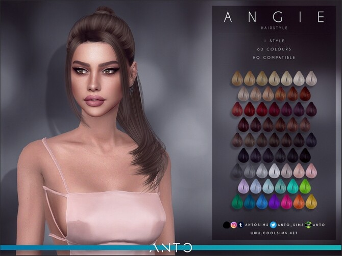Sims 4 Angie Hair by Anto at TSR