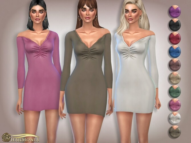 Sims 4 Asymmetric Neck Ruched Front Dress by Harmonia at TSR