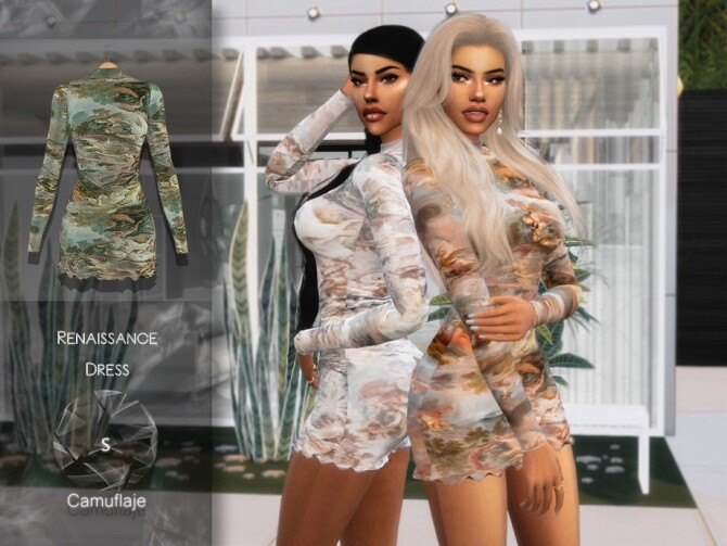 Sims 4 Renaissance dress by Camuflaje at TSR