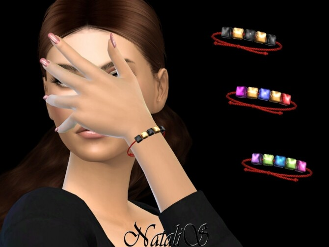 Sims 4 Square beads string bracelet by NataliS at TSR