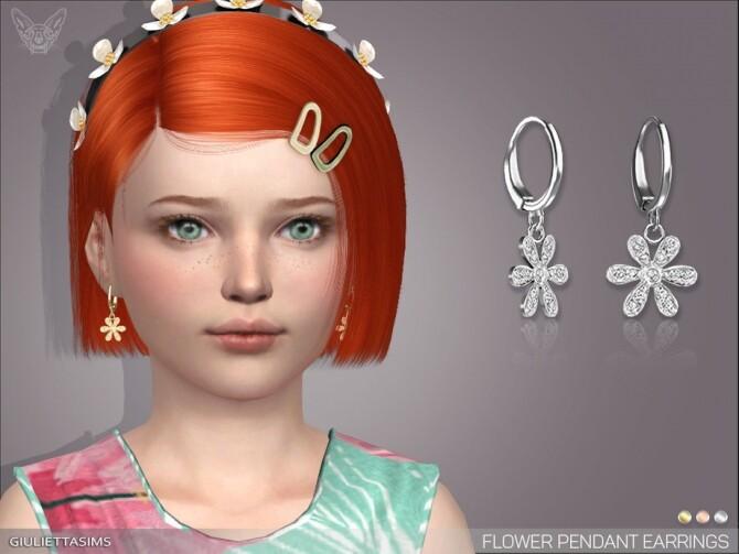 Sims 4 Flower Pendant Earrings For Kids by feyona at TSR