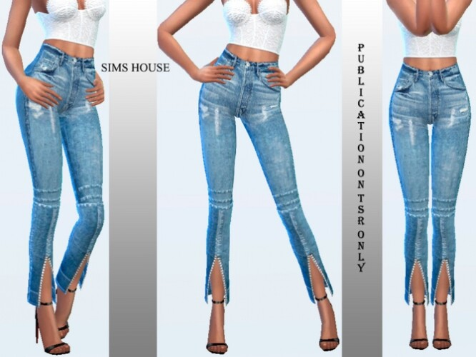 Jeans with a front zip on the legs by Sims House