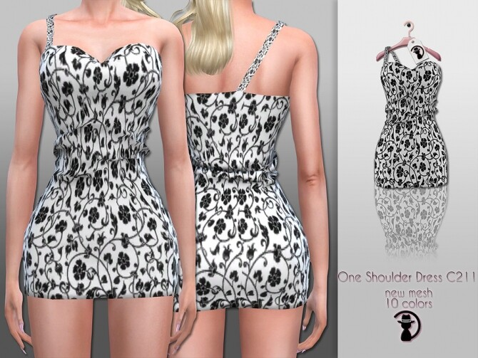 Sims 4 One Shoulder Dress C211 by turksimmer at TSR