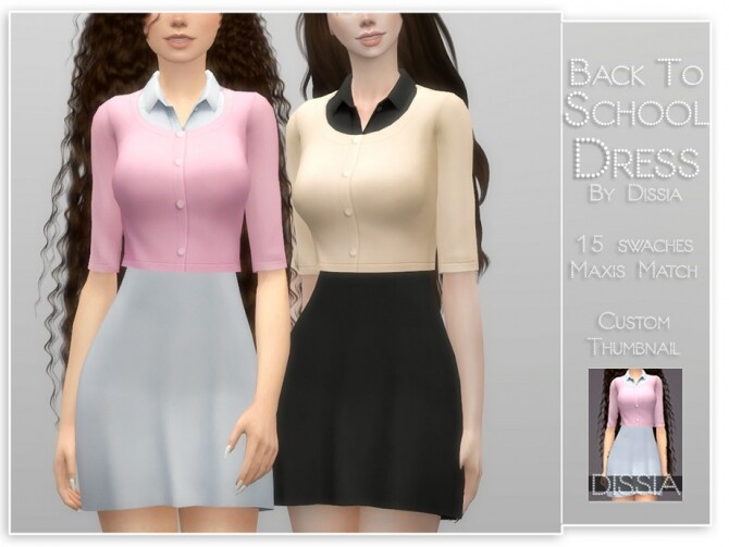 Sims 4 Back To School Dress by Dissia at TSR