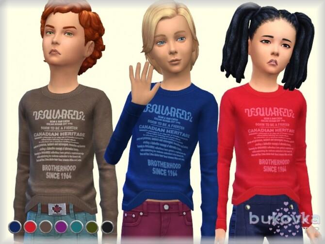 Sims 4 Long sleeves t shirt for kids by bukovka at TSR