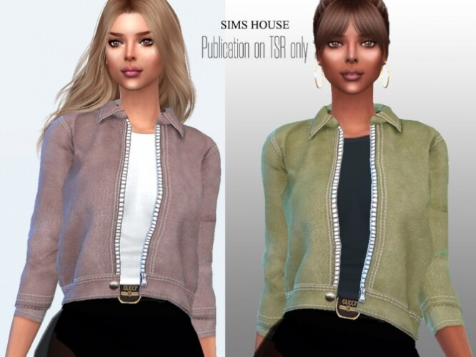 Eco leather jacket with a t-shirt by Sims House