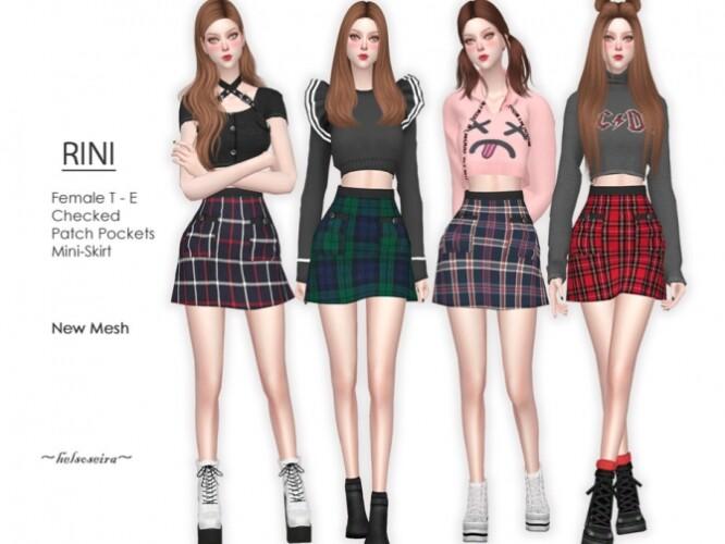 RINI Checked Mini Skirt by Helsoseira