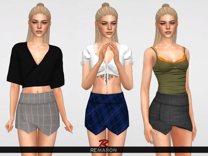 Sims 4 Work Shorts Skirt for Women 01 by remaron at TSR