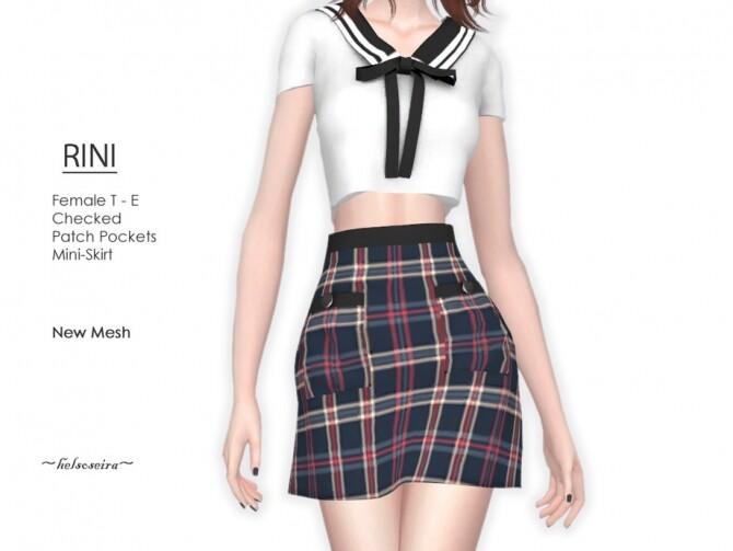 Sims 4 RINI Checked Mini Skirt by Helsoseira at TSR